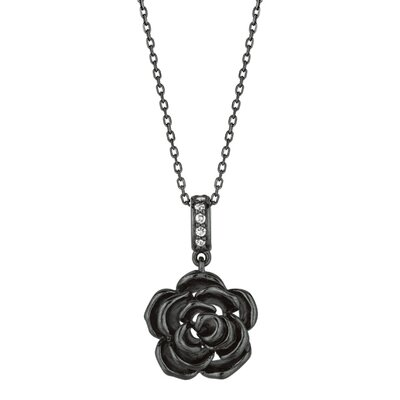 Sterling Silver Rhodium Ruthenium Plated Rose Flow PendantWith Vend - 18 Inch