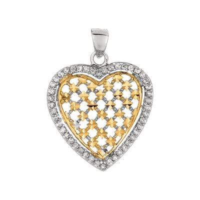 Jewelryweb Sterling Silver CZ Gold Plated Rhodium Plated Round Heart Pendant- 18 Inch