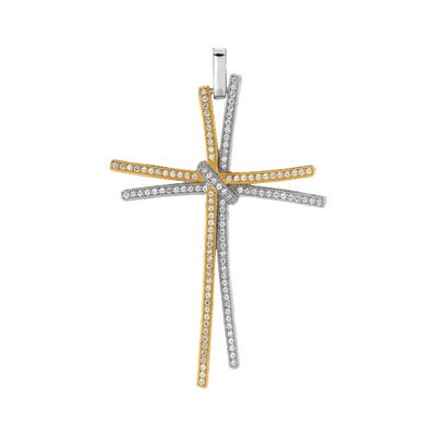 Jewelryweb Sterling Silver CZ Gold Plated Rhodium Plated Micro Pave Cross Pendant