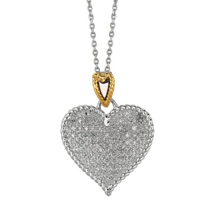 Sterling Silver 14k Gold Heart Shaped PendantWith Diamond - 18 Inch