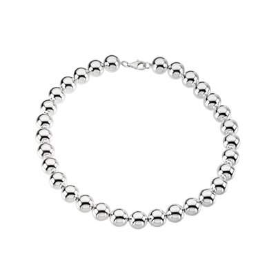Jewelryweb Sterling Silver 14mm Bead Necklace