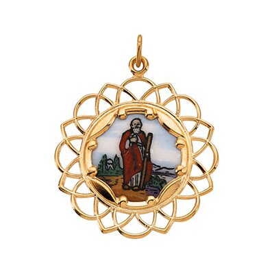 Jewelryweb 10k Yellow Gold St. Jude Framed Enamel Pendant26
