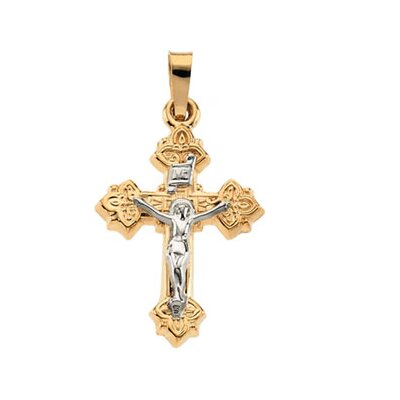 Jewelryweb 14k Two-Tone Crucifix Pendant33x25mm