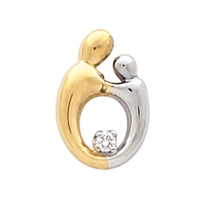 Jewelryweb 14k Two-Tone Sm Mother And Child Diamond Pendant. 14.75x1mm