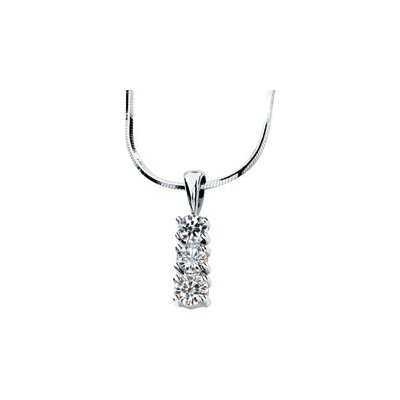 Jewelryweb 14k White Gold Created Moissanite 3 Stone Pendant3/4ct