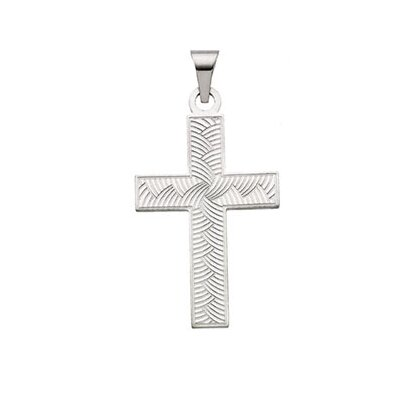 Jewelryweb 14k White Gold Cross PendantWith Design 28x18mm