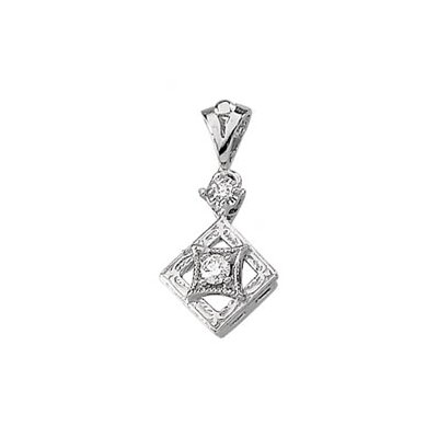 Jewelryweb 14k White Gold Diamond Pendant.07ct