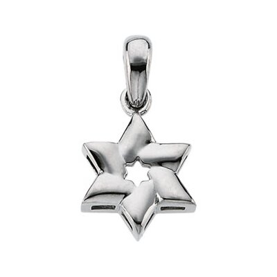14k White Gold Star Of David Cross Pendant