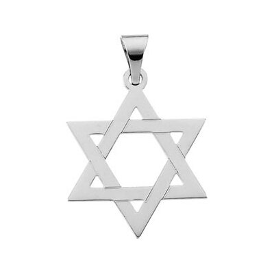 14k White Gold Star Of David Pendant25x19mm