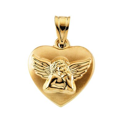 14k Yellow Gold Angel Heart Hollow Pendant16.25 X 15.75mm