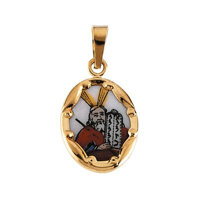 Jewelryweb 14k Yellow Gold Ceramic Moses Pendant
