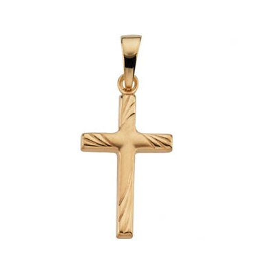 Jewelryweb 14k Yellow Gold Cross Pendant17.5x12