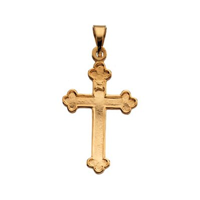 Jewelryweb 14k Yellow Gold Cross Pendant18.5x12.5mm