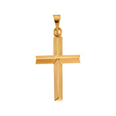 Jewelryweb 14k Yellow Gold Cross Pendant18x14mm