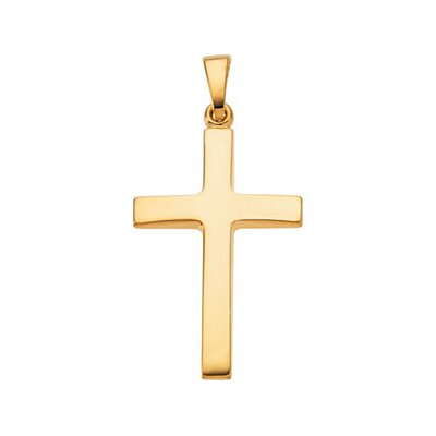 Jewelryweb 14k Yellow Gold Cross Pendant24.25x16
