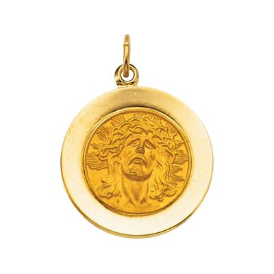 Jewelryweb 14k Yellow Gold Face Of Jesus - Ecce Homo Pendant18mm