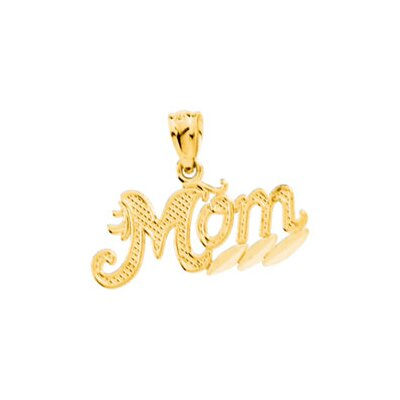 Jewelryweb 14k Yellow Gold Mom Pendant9.25x20.5mm