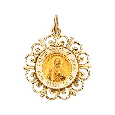 Jewelryweb 14k Yellow Gold Round Sacred Heart Of Jesus PendantMdl 18.5