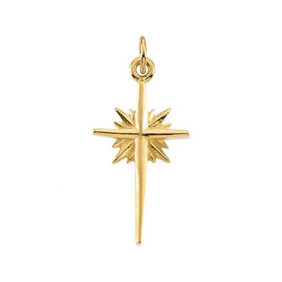 Jewelryweb 14k Yellow Gold Star Pendant17.5x10.5mm