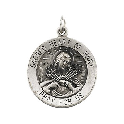 Jewelryweb Ster. Silver Round Sacred Heart Of Mary PendantMdl 18.5mm
