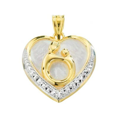 Jewelryweb 10k Yellow Gold Mother and Child PendantWith Rhodium Plating 17.75x17.75mm