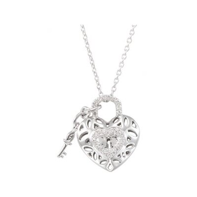 Jewelryweb Sterling Silver Diamond Heart Necklace 1/6ct 18 Inch