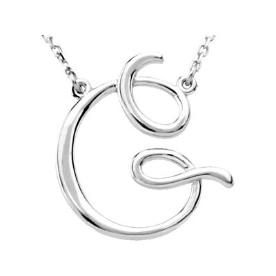 14k Gold Gold Fashion Script Initial Necklace G 16 Inch