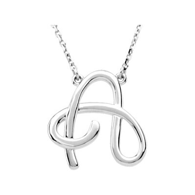 Jewelryweb Sterling Silver Fashion Script Initial Necklace a 16 Inch