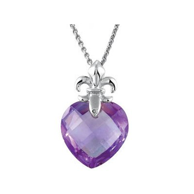 Jewelryweb Sterling Silver Genuine Checkerboard Amethyst Pendant13x13mm