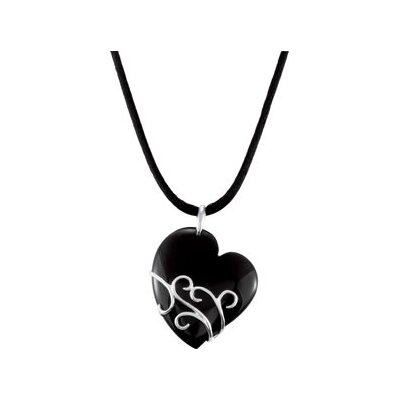 Jewelryweb Sterling Silver Genuine Onyx Heart Pendant37x31.5mm