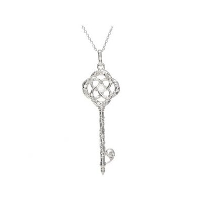 Jewelryweb Sterling Silver Diamond Vine Key Necklace 1/10ct 18 Inch