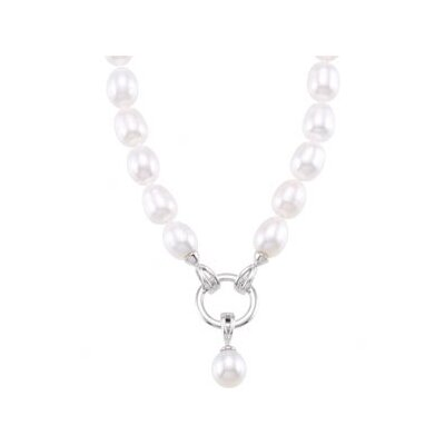 Sterling Silver Freshwater Cultured Pearl Strand Detachable Enhancer Pendant8-8.5mm8.5-9mm18 Inch
