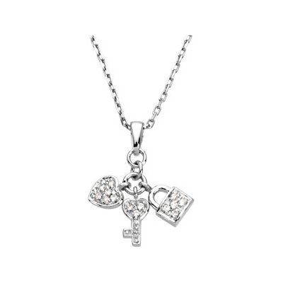 Jewelryweb Sterling Silver Youth Heart Lock and Key Pendant16 Inch