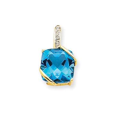 Jewelryweb 14K Blue Topaz and Diamond Pendant