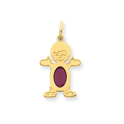 14K Boy Oval Genuine Ruby July Birthstone Pendant