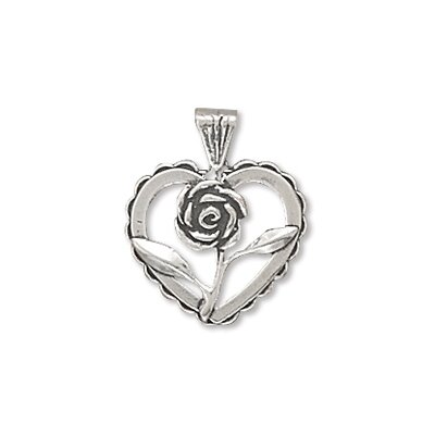Jewelryweb Sterling Silver Heart With Rose Charm
