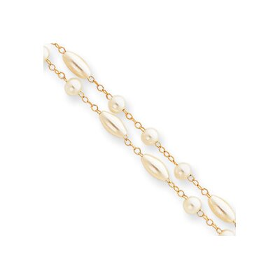 7.25in Gold-plated Two Strand Glass Pearl Bracelet