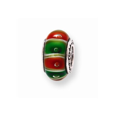 Jewelryweb Sterling Silver Reflections Green Red Murano Glass Bead Charm