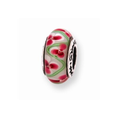 Jewelryweb Sterling Silver Reflections PinK Green Bead Charm