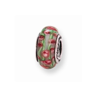 Jewelryweb Sterling Silver Reflections PinK Green Murano Glass Bead Charm