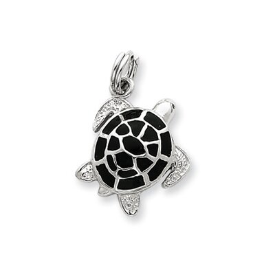 Jewelryweb Sterling Silver Green Enamel Turtle Charm
