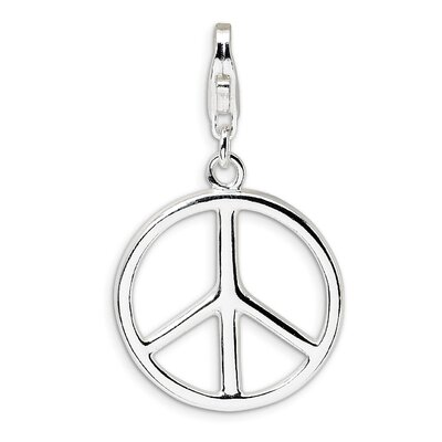 Jewelryweb Polished Peace Sign with Lobster Clasp Charm