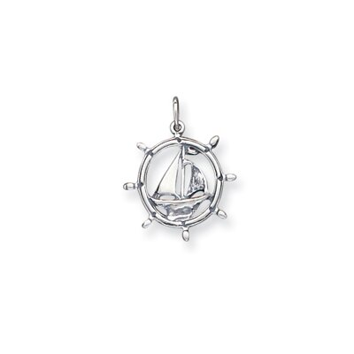 Sterling Silver Antiqued Sailboat in Wheel Charm