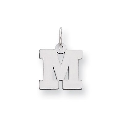 Jewelryweb Sterling Silver Small Block Intial M Charm