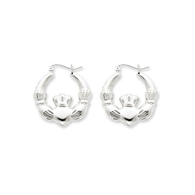 Sterling Silver Polished Claddagh Hoop Earrings