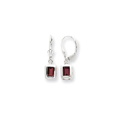 Sterling Silver 7x5mm Emerald-Cut Garnet Leverback Earrings