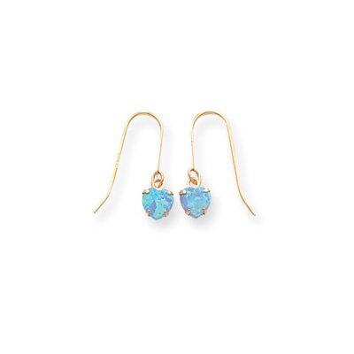 14k 5.5mm Created Light Blue Opal Drop Earrings