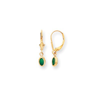 14k 6x4 Oval Bezel May Birthstone Emerald Leverback Earrings