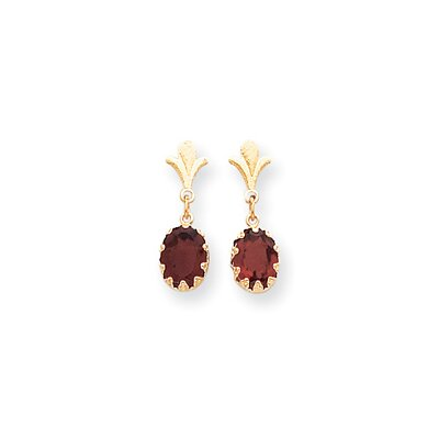 14k Oval Garnet Dangle Earrings