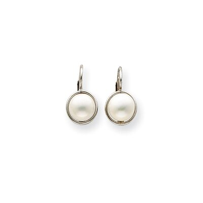 Jewelryweb 14k White Gold 7-7.5 Cultured Pearl Leverback Earrings